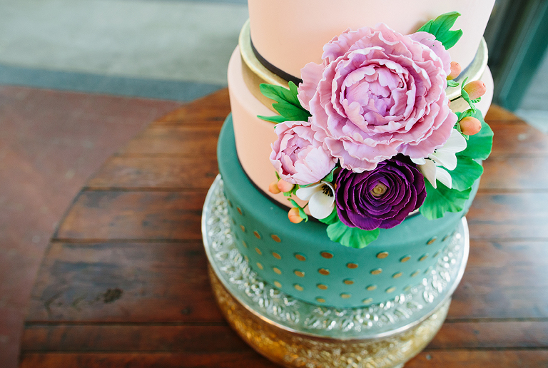 wedding-cake-with--flowers-and-polka-dots